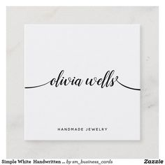 Simple White Handwritten Script Calligraphy Square Business Card High Quality Business Cards, Square Business Cards, Art Business Cards, Minimalist Business Cards, Business Card Size, Professional Business Cards, Business Card Design, Cute Typography, Photographer Business Cards