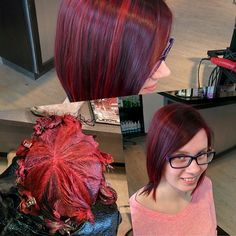 Some fun haircolour for a cool client that always keeps me on my toes! Alternating formulas Schwarzkopf Professional Igora Royal 4-99 intense violet & 6-88 intense red with 3%. #stevenmathew...