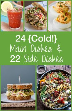 24 Cold Main Dishes and 22 Cold Sides Hot Day Dinners, Cool Summer Dinners, Cold Meals, Cold Dinner Ideas, Side Dish Recipes, Dinner Recipes, Whole Food Recipes, Healthy Recipes, Healthy Meals