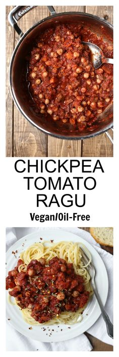 Classic ragu gets a vegan twist with chickpeas and fire-roasted tomatoes! This Vegan Chickpea Tomato Ragu has the classic flavors we love but with the plant-based health benefits. Oil-free and so delicious! via @thevegan8