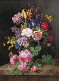 Floral Still Life of Roses, Tulips, Black Irises, and a Butterfly, by Henriëtte Geertruida Knip, 1830