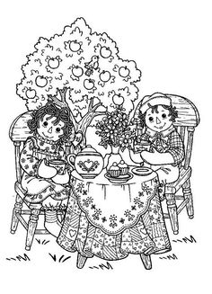 printable pages for coloring raggedy ann and andy | Raggedy Ann Printable Coloring Pages Raggedy ann and andy tea party