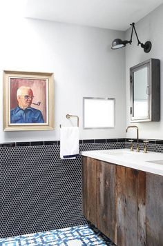 Eclectic bathroom with exotic tile and reclaimed wood   Usual House