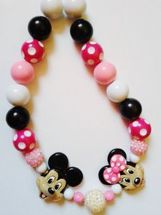 Mickey and Minnie necklace in pink or red by crystalnruby on Etsy