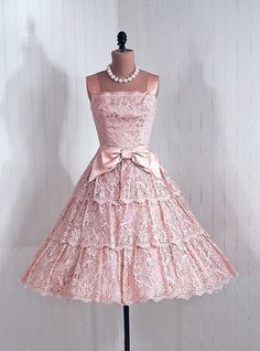 Vintage 1950s Dress : 50s Pink Lace Prom Wedding Dress  Junior ...