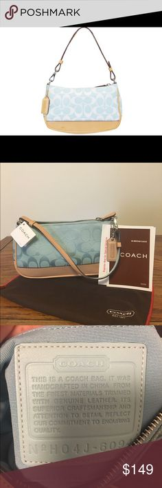 "NWT Coach rare blue & tan pastel demi bag NWT Coach rare signature blue & tan pastel demi bag- so cute and a rare find!!! Comes with coach dust bag!! Measures 8.5"" in length & 5"" in height.  2 small scuff marks on the bottom of bag as shown in the last picture Coach Bags"