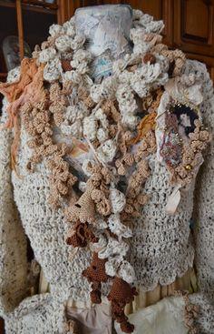 Romantic scarf,necklace,Art To Wear ,Bohemian, gypsy,Shabby Chic, boho style,crocheted scarf ,mori girl,fairy scarf Trumpetflowers