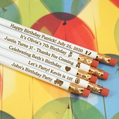 """Personalized Kids Birthday Engraved Pencils - White (Set of Get it """"write"""" this year and give our Personalized Birthday Pencils as favors at your upcoming birthday bash! With an elegant white exterior, these pencils are an excellent addition to Birthday Favors, Birthday Party Favors, Birthday Bash, Birthday Wishes, Girl Birthday, Happy Birthday Patrick, Birthday Pencils, White Pencil, Birthday Design"""