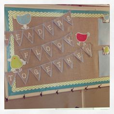 Burlap bird bulletin board