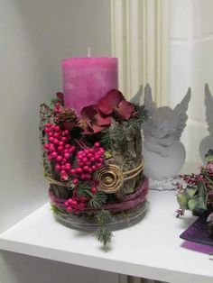 Floral candle centerpiece