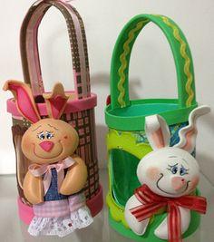 Esta canasta de Pascua amistoso con botella de plástico decorado es siempre muy exitosa donde aparece (Foto: hak.com.br)