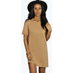 Boohoo Rudy Turn Back Sleeve TShirt Dress ($16) ❤ liked on Polyvore featuring dresses, camel, beige cocktail dress, bodycon cocktail dress, t shirt dress, day to night dresses and tee dress
