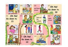 This is PART 2 of a typical snakes and ladders boardgame with vocabulary about daily routine, household chores and free time activities.Students have to make a sentence with the vocabulary on the square they land on. I'm uploading the board in parts because of the size of the file. But you have to join the 4 boards and laminate altogether to form only one board.If you want to make the game more challenging you will also find:- a subject pronoun dice. Students have to make a sentence not o...