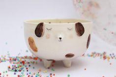 Cute puppy bowl sweet porcelain dog bowl planter ceramic #ad #pottery