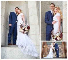 Bride and Groom at the Salt Lake Temple on LDS Bride Blog