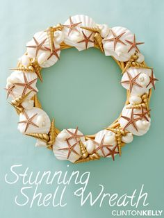 Collect shells (or just get them at the craft store) to recreate this more fabulous version of the $90 PB wreath