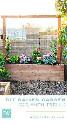 Incorporating a trellis into your garden is a great way to take advantage of unused space. See how we built this raised planter bed with a built in trellis. Planter Box With Trellis, Raised Planter Beds, Diy Planter Box, Diy Trellis, Garden Trellis, Raised Beds, Balcony Planters, Wood Planters, Garden Planters