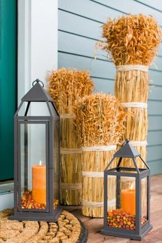 Bring a touch of ambiance to your front porch with iron lanterns. For maximum visual impact, group the lanterns together and choose coordinating pillar candles.