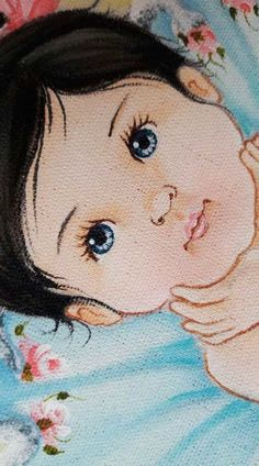 Riscos para Pintura em Tecido: Flores, Bonecas e Frutas +46 Fotos Baby Painting, Eye Painting, Doll Painting, Fabric Painting, Cartoon Faces, Girl Cartoon, Doll Face Paint, Homemade Dolls, Baby Drawing