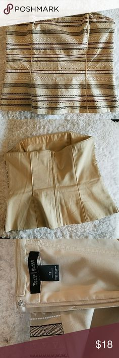 White House Black Market Corset top EUC White House Black Market tan corset top. Has piping in the top to hold your shape. Has embroidered stitching on the front in white, brown, burgundy and black colors. Gold detail as well. Only wore twice for work under a blazer but would be cute with jeans!! White House Black Market Tops Crop Tops