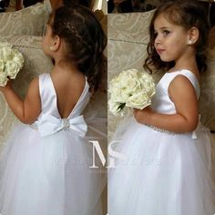 Lovely Bateau Sleeveless Tulle Flower Girl Dress With Bow Beadings Item Code: Tulle Flower Girl, Cheap Flower Girl Dresses, Tulle Flowers, Flower Girls, Girls Dresses Online, Gowns For Girls, Dress Online, Vestidos Vintage, Vintage Dresses