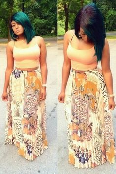 My favorite fashion look currently is the long printed maxi skirts with the short cute crop tops