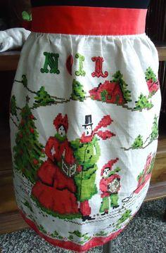 Vintage Noel Christmas Apron