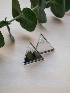 Acrylic silver mirror triangle geometric by Somewherestore on Etsy