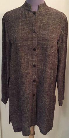 EILEEN FISHER XS Collarless button down Boxy Textured Linen Long shirt jacket #EILEENFISHER #ButtonDownShirt