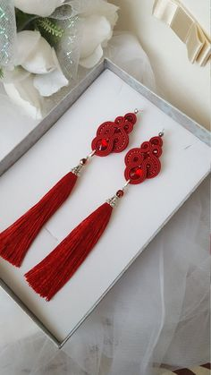 Red Tassel Earrings Swarovski Earrings Birthday Gift For Her Tassel Earing, Tassel Jewelry, Soutache Jewelry, Earrings Handmade, Handmade Jewelry, Unique Gifts For Women, Red Earrings, Statement Earrings, Swarovski Crystal Earrings