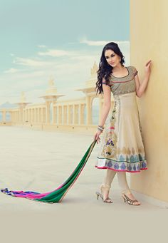 Beige #Cotton #Silk Churidar Kameez @ $157.13