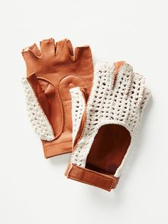 Jet Setter Crochet Driver | Fingerless real leather driver gloves featuring a sweet crochet design on the top.  Hook and loop fastener closure at the wrist.