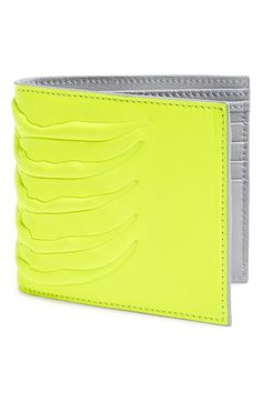 Alexander McQueen Rib Cage Bifold Leather Wallet - Neon Yellow / Grey $265.