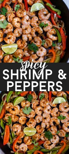 My Spicy Shrimp and Peppers recipe is an easy 30 minute dinner! Sauteed shrimp and peppers with spicy seasoning and rice or pasta is one of our favorite weeknight meals. Use homemade taco seasoning for gluten-free! Grilled Shrimp Recipes, Sauteed Shrimp, Fish Recipes, Seafood Recipes, Shrimp Appetizers, Top Recipes, Yummy Recipes, Kitchen Recipes, Seafood