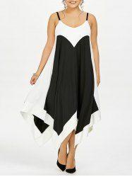 Plus Size Handkerchief Two Tone Slip Dress