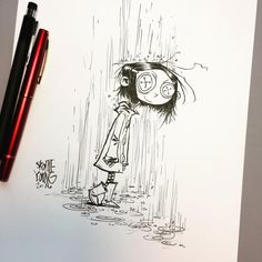 Brush and ink. Arte Tim Burton, Tim Burton Art Style, Skottie Young, Coraline Drawing, Coraline Tattoo, Scary Drawings, Young Art, Arte Horror, Creepy Art