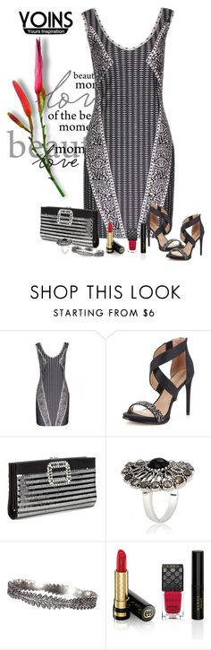 """Yoins Abstract  Print Dress"" by lorrainekeenan ❤ liked on Polyvore featuring BCBGMAXAZRIA, Roger Vivier and Gucci"