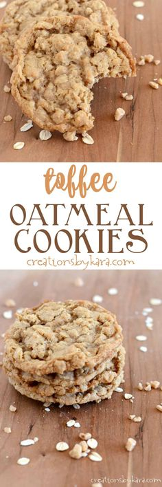 Oatmeal Toffee Cookies Recipe – Creations by Kara If you love toffee, this Oatmeal Toffee Cookie recipe is for you! They are crisp on the outside, chewy on the inside. A perfect oatmeal cookie! Toffee Cookie Recipe, Toffee Cookies, Oatmeal Cookies, Yummy Cookies, Chocolate Chip Cookies, Oatmeal Scotchies, Cereal Cookies, Crazy Cookies, Oatmeal Cookie Recipes