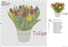A realistic pot of colored tulips flowers cross stitch pattern