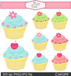 cupcake clip art, cake, cupcakes, blue, pink, green, cupcake , Instant Download cupcake clip art