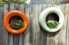 Reciclagem de pneus para Jardim: Vaso Vertical