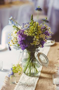 20 Budget-friendly Wildflower Wedding Centerpieces for Spring Summer Jam Jar Flowers, Flowers Uk, Purple Wedding Flowers, Wedding Table Flowers, Yellow Wedding, Floral Wedding, Wild Flowers, Wedding Bouquets, Beautiful Flowers