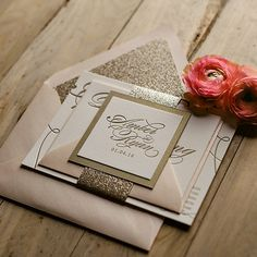 LAUREN Suite // STYLED // Glitter Package | Just Invite Me, This Way to Fabulous, Inc. Schaumburg, Illinois Wedding Invitations