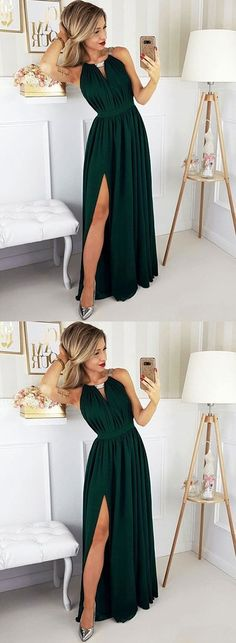 Dark green chiffon long prom dress, simple evening dress, Customized service and Rush order are avai Green Bridesmaid Dresses, A Line Prom Dresses, Day Dresses, Evening Dresses, Occasion Dresses, Bridesmaids, Formal Dresses, Dark Green Long Dress, Dark Green Prom Dresses