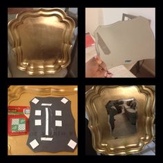 Serving tray and small mirror I had, make a bigger and more regal statement! Super easy!!