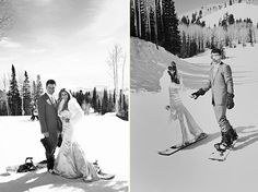 Snowboarding in a wedding dress ... damn that takes skill! Ben and I will be doing this...already planned!