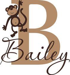 Childrens Monogram Name   boys girls Monkey by itswritteninvinyl