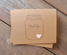 Blossom Pink Thank You Card-Pink Heart Card-Rustic Wedding Card-Wedding Thank You Card-Mason Jar Card-Bridal Shower Thank You Card by Lemon Drops & Lilacs on etsy.com