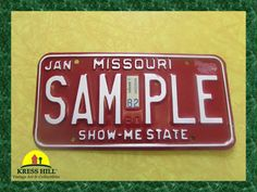 Missouri Sample License Plate ShowMe State by KressHillVintage, $26.00