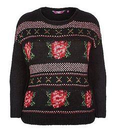 Black Floral Tapestry Jumper £22.99,  Inspire - New Look